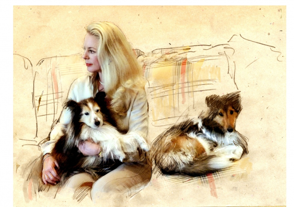 A Woman with her Dogs
